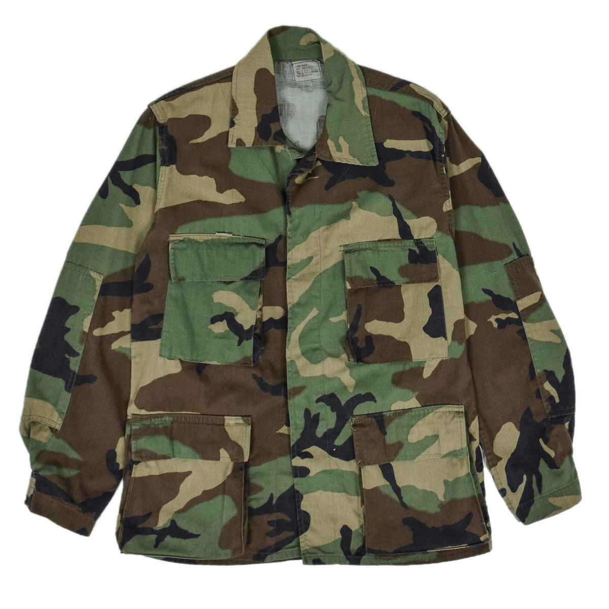 Vintage US Army Woodland Camouflage Combat Coat Field Jacket XS  FRONT