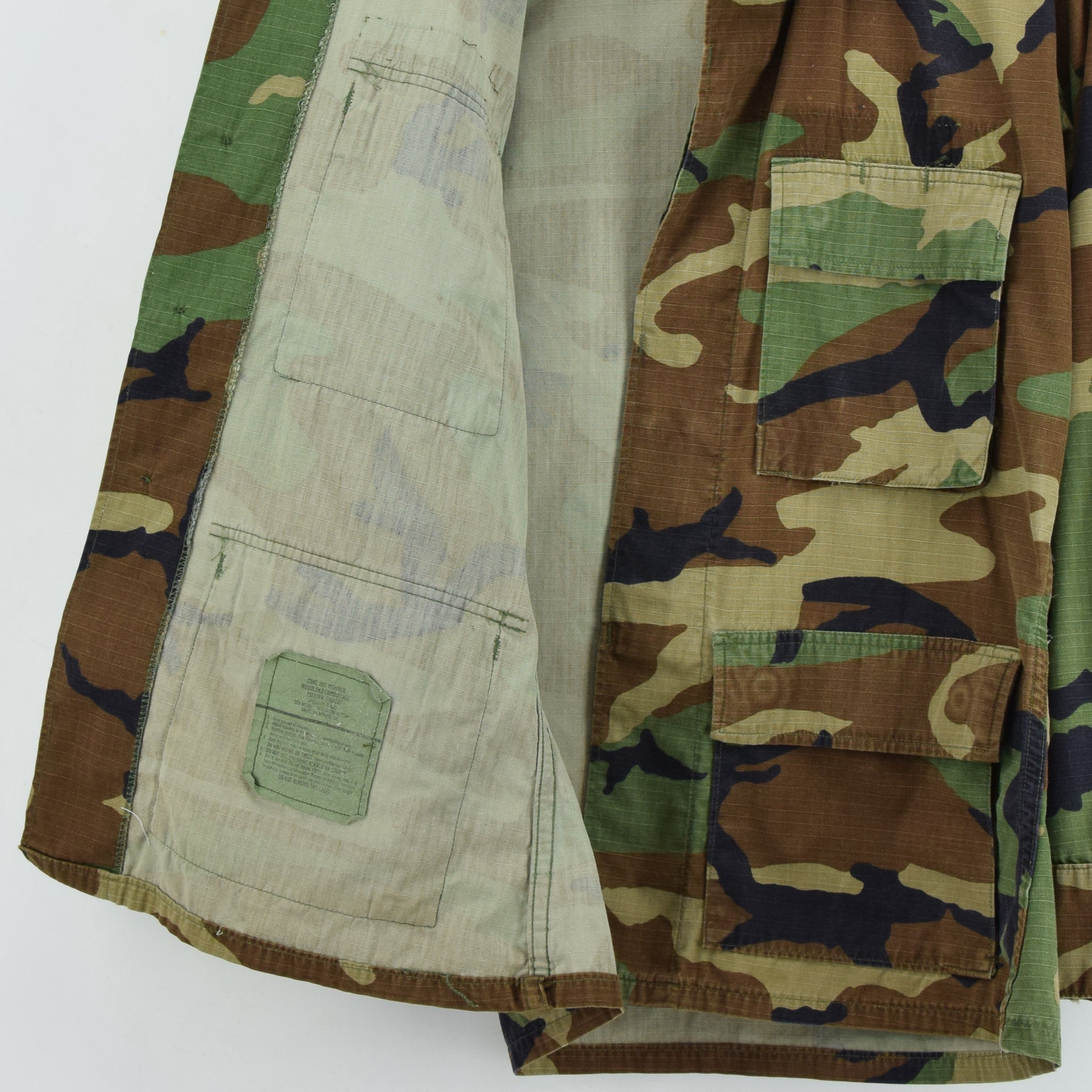 Vintage US Army Hot Weather Woodland Camouflage Combat Coat Field Jacket S lining
