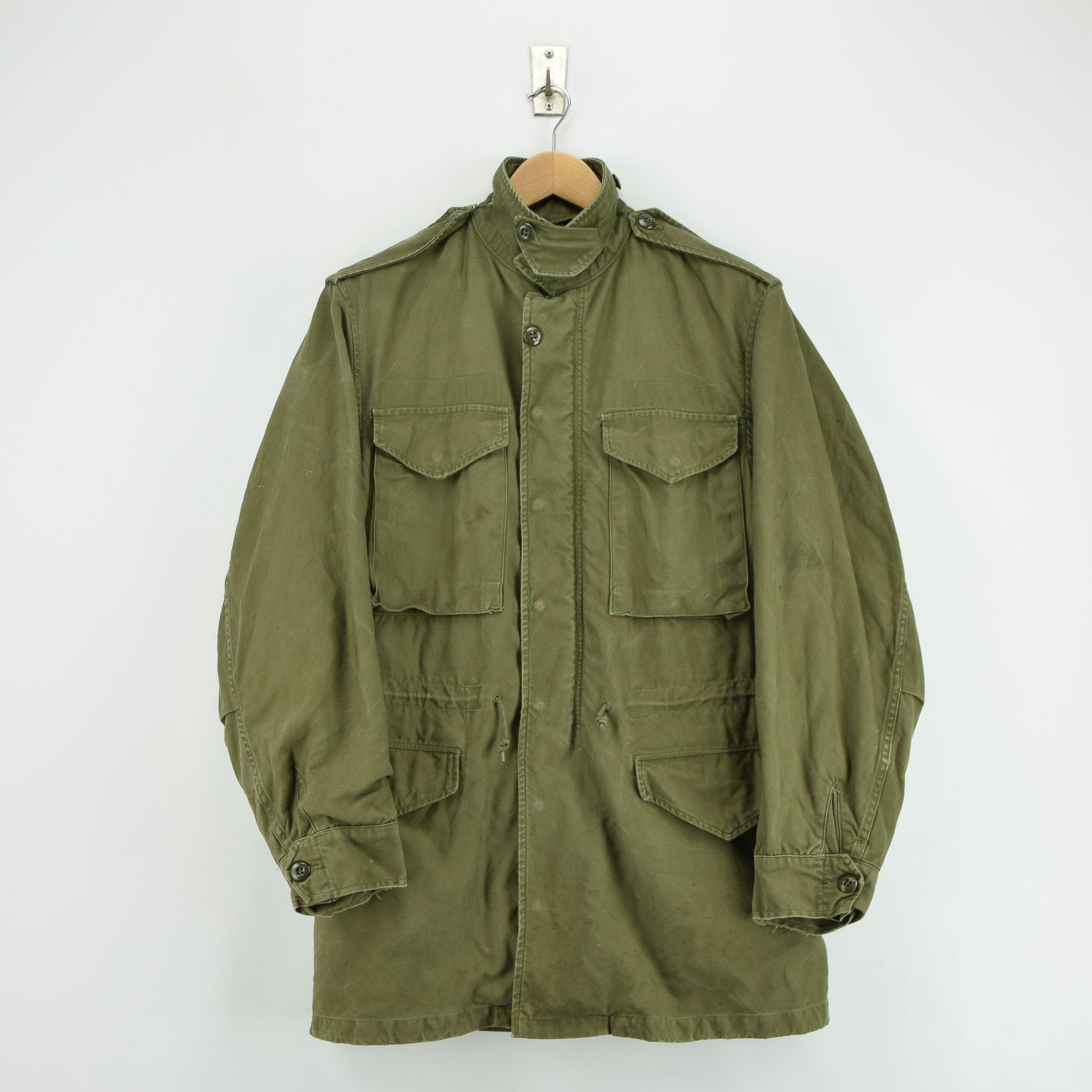 Vintage 50s M-1951 Korean War US Army Field Jacket Olive Green Conmar Zip M front