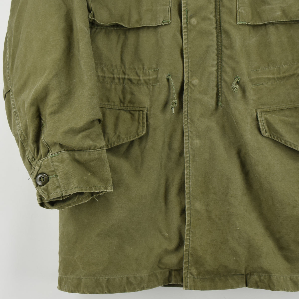 Vintage 50s M-1951 Korean War US Army Field Jacket Olive Green Conmar Zip M front hem