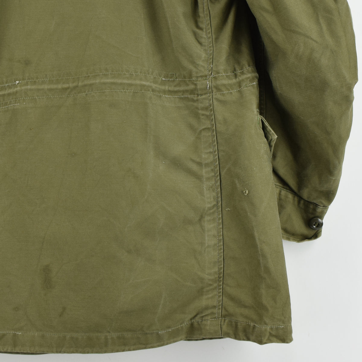 Vintage 50s M-1951 Korean War US Army Field Jacket Olive Green Conmar Zip M back hem