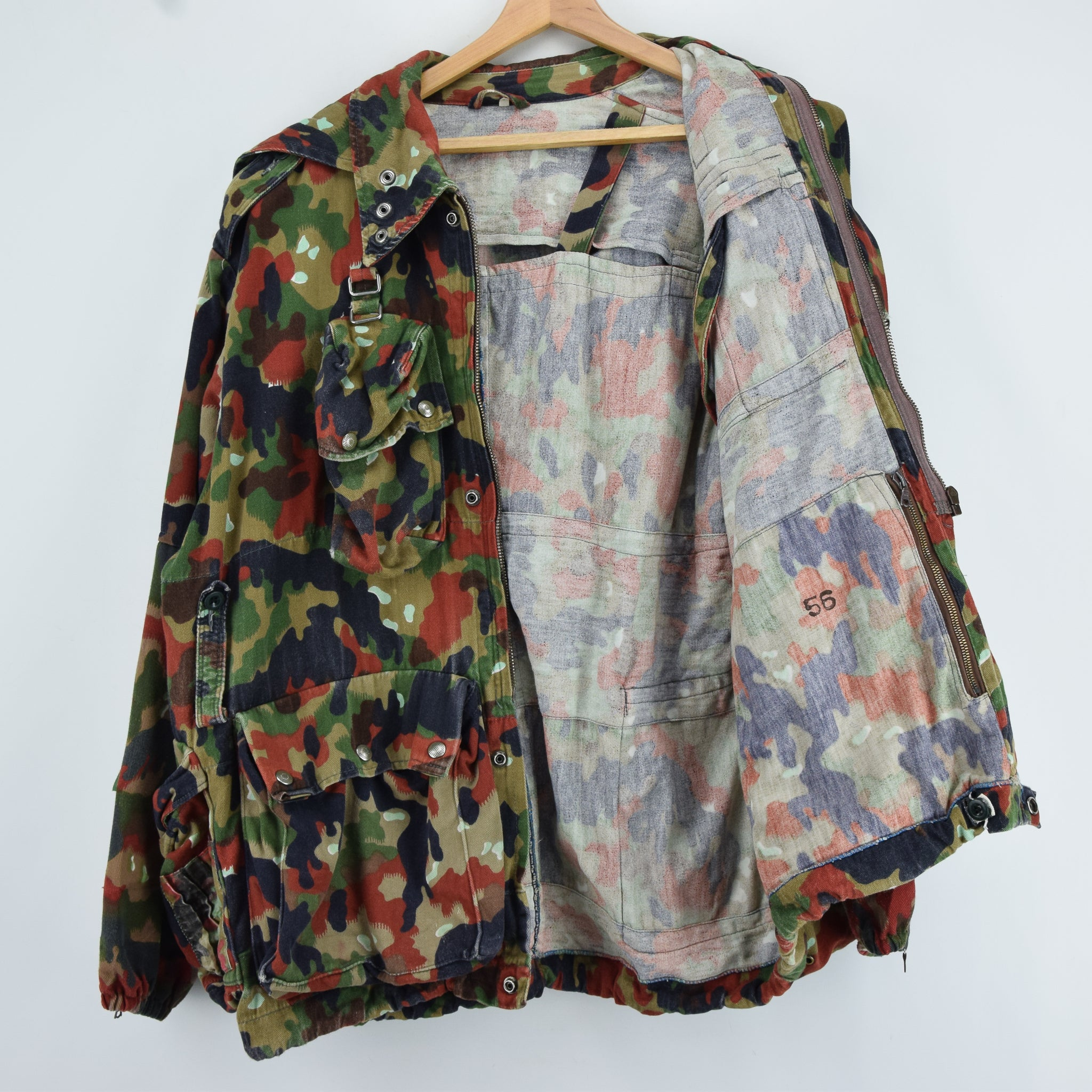 795779d8e9e20 ... Vintage 80s Swiss Army Alpenflage Camo Sniper Combat Field Jacket XL  lining ...