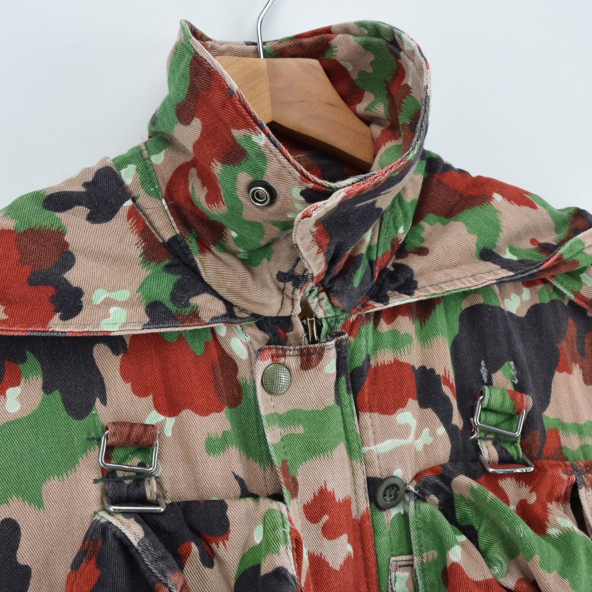 Vintage 70s Swiss Army Alpenflage Camo Swedish Sniper Combat Field Jacket S / M collar