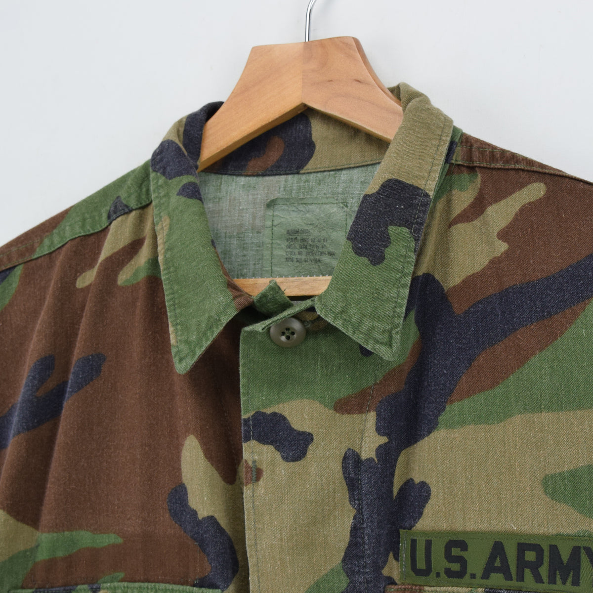 Vintage 80s US Army Woodland Camouflage BDU Combat Coat Field Jacket M Short collar