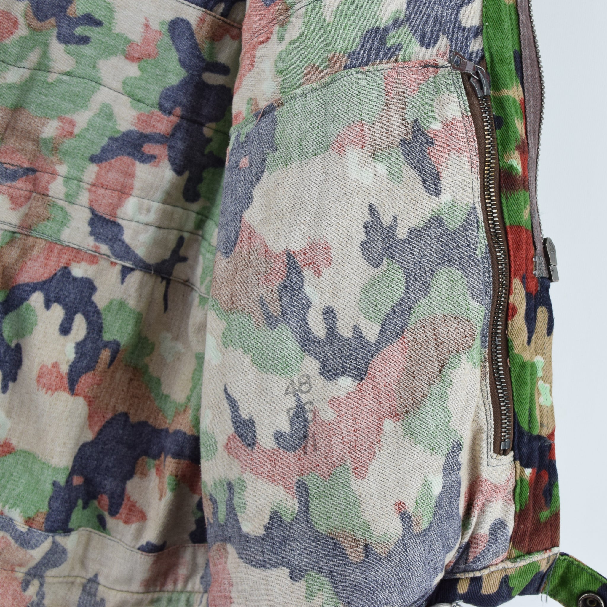 Vintage 70s Swiss Army Alpenflage Camo Sniper Combat Field Jacket S / M internal print