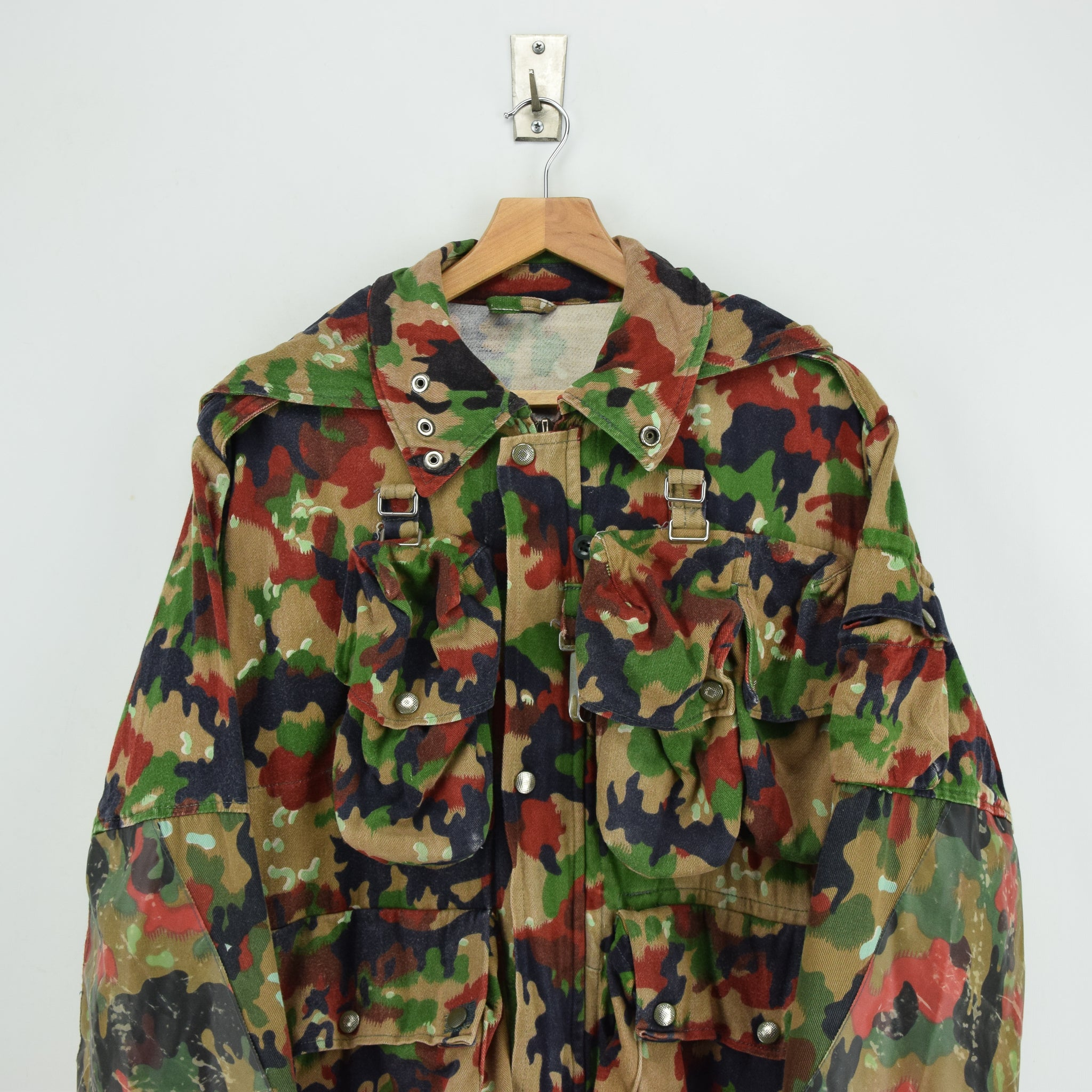 Vintage 70s Swiss Army Alpenflage Camo Sniper Combat Field Jacket S / M chest