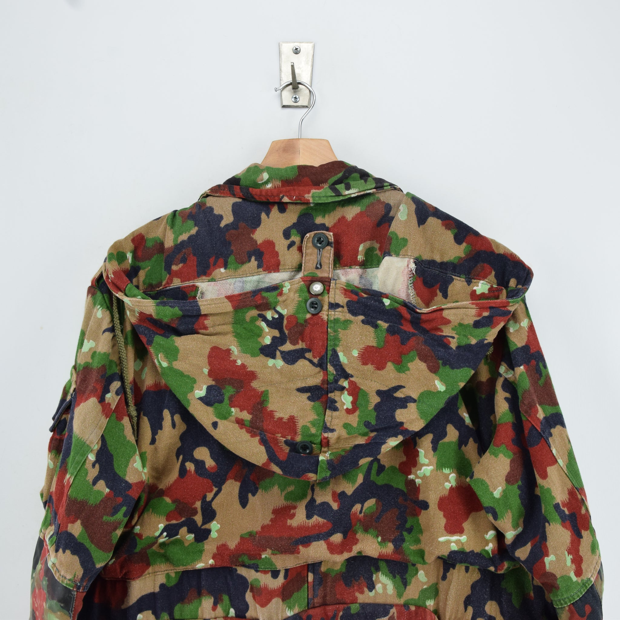 Vintage 70s Swiss Army Alpenflage Camo Sniper Combat Field Jacket S / M shoulders