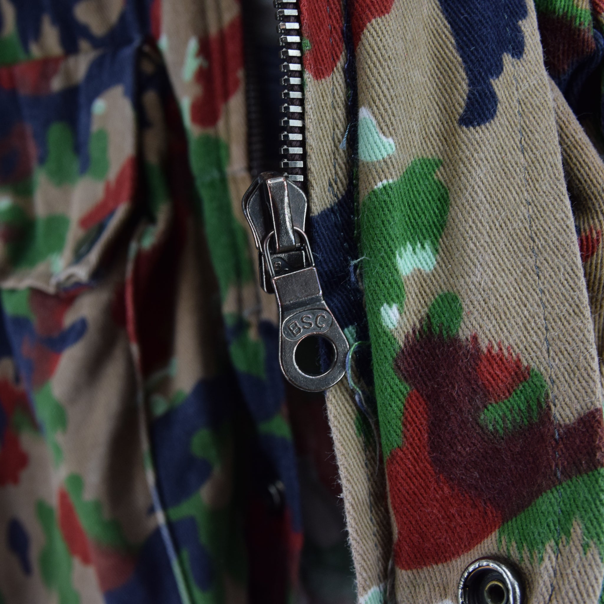 Vintage 70s Swiss Army Alpenflage Camo Sniper Combat Field Jacket S / M zip