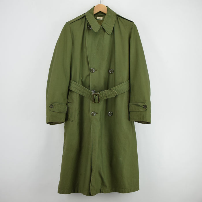 Vintage 60s Vietnam Era US Army Man's Overcoat Long Trench Coat With Liner S front