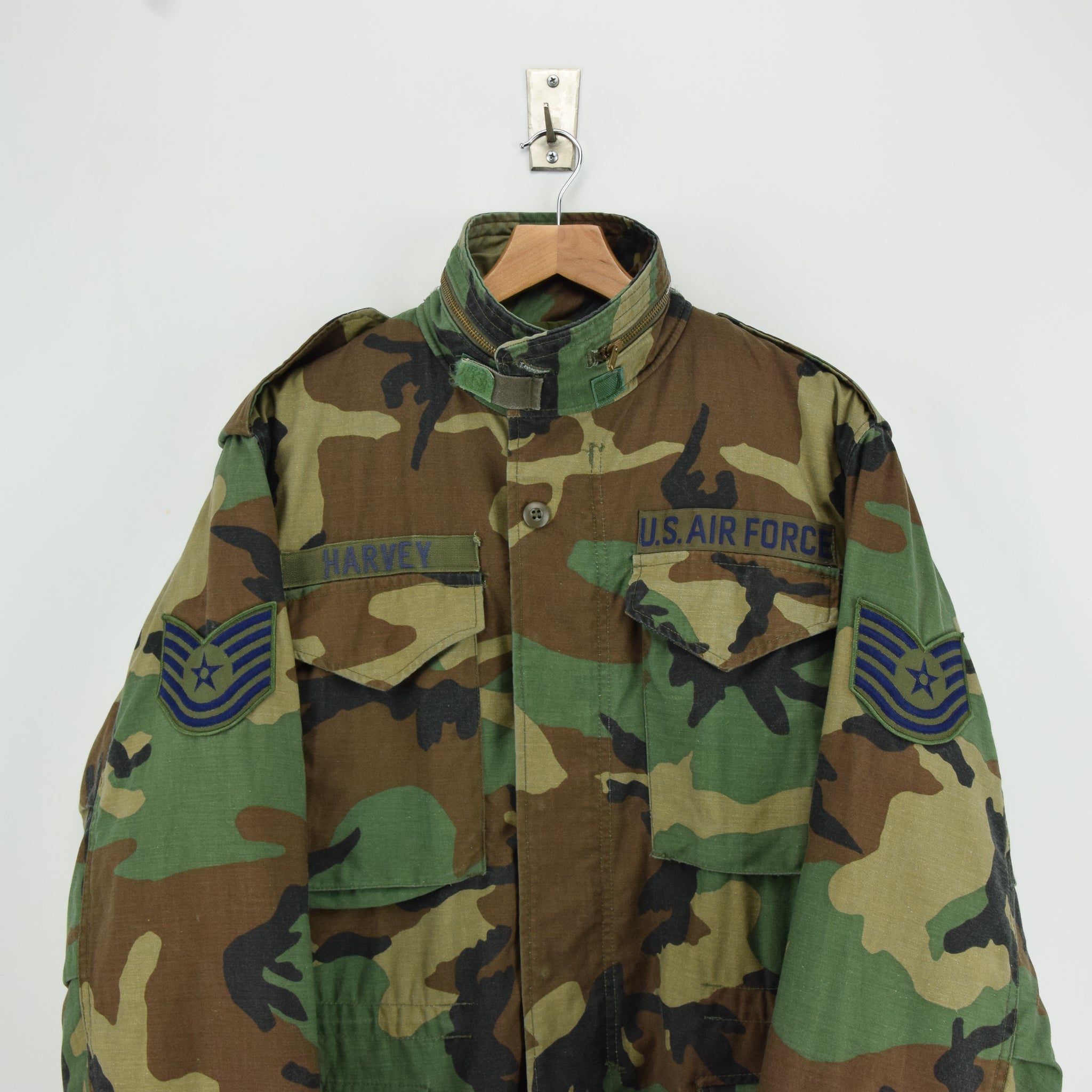 Vintage 80s M-65 Woodland Camouflage Field Coat USAF Cotton Military Jacket S chest