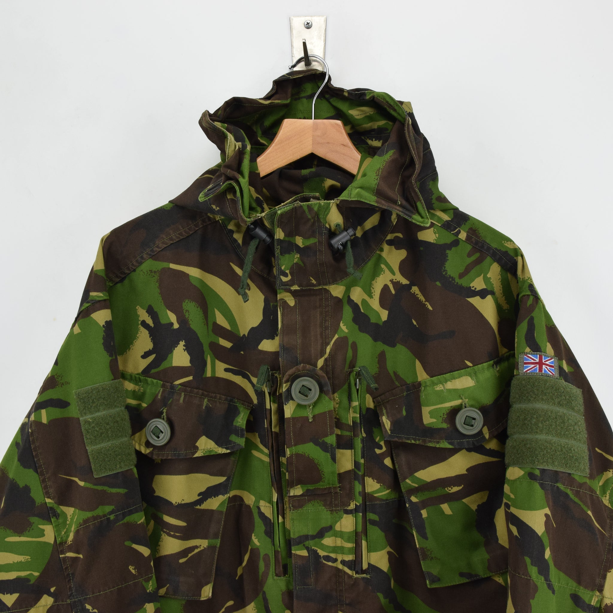 Vintage British Army Windproof Combat Smock Woodland Camo Field Jacket XL / XXL chest