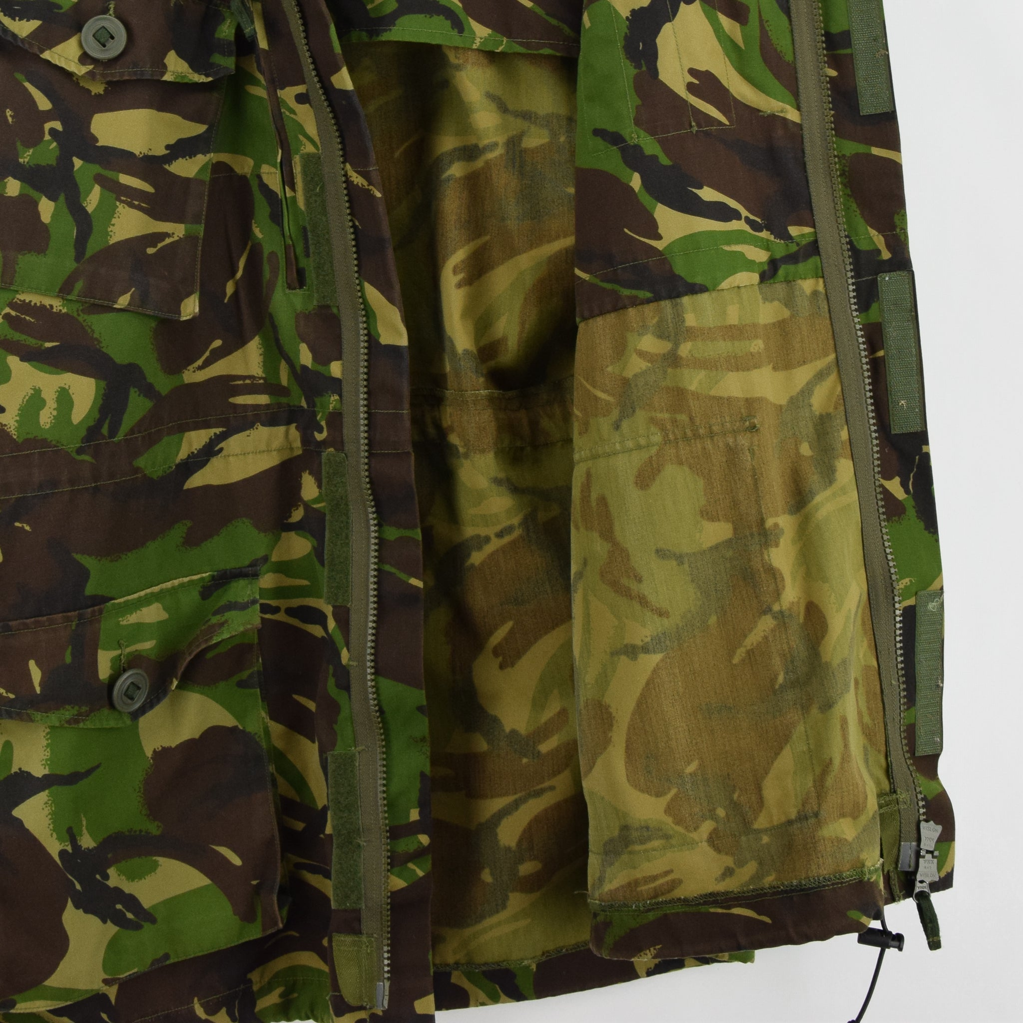 Vintage British Army Windproof Combat Smock Woodland Camo Field Jacket XL / XXL lining