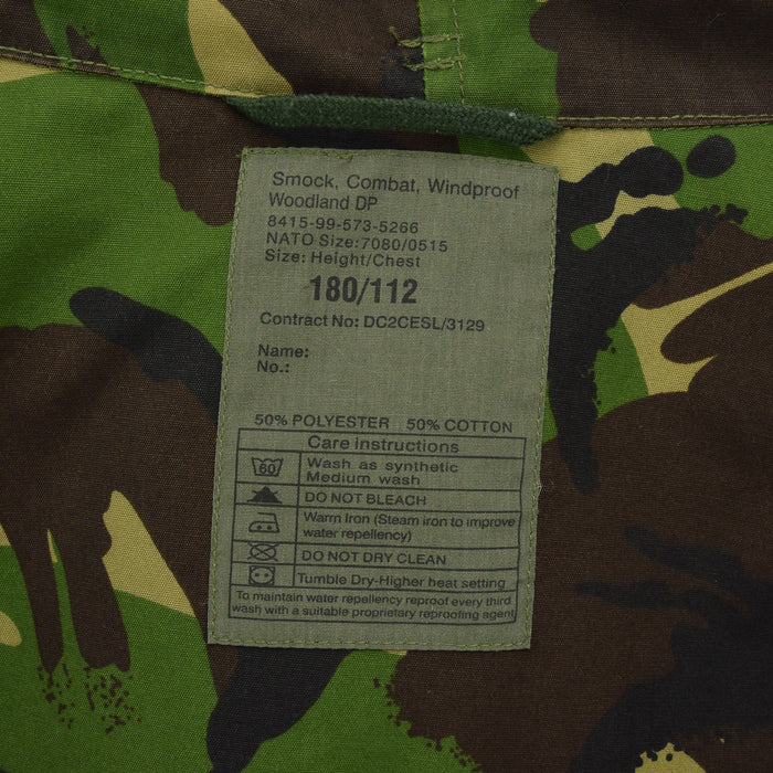 Vintage British Army Windproof Combat Smock Woodland Camo Field Jacket XL / XXL label