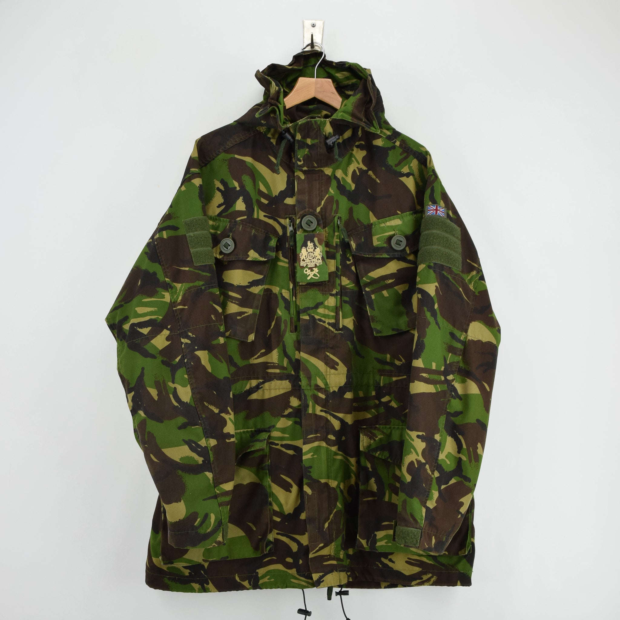 Vintage British Army Windproof Combat Smock Woodland Camo Field Jacket XL / XXL front