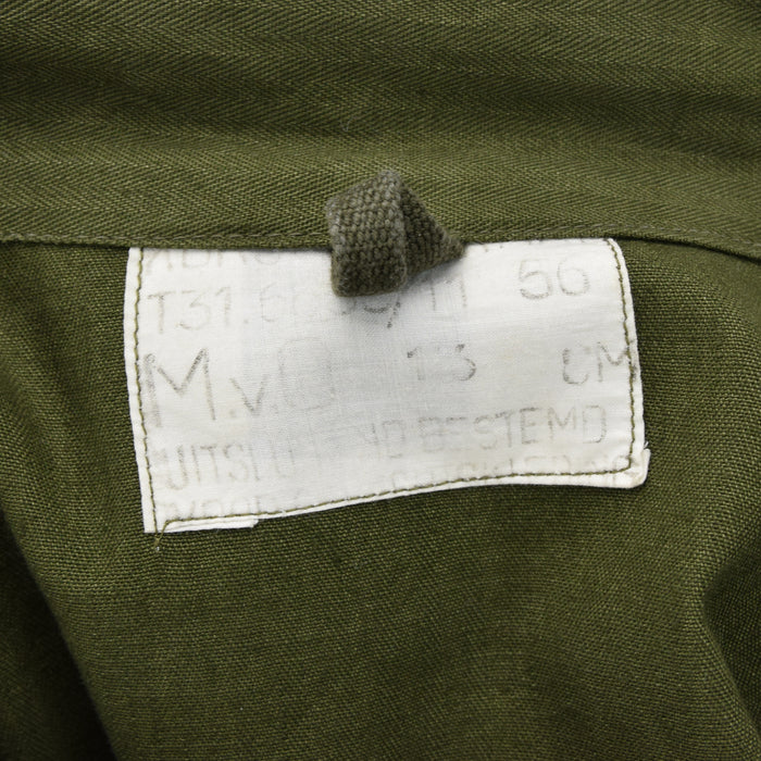 Vintage Dutch Army Surplus Cotton Herringbone Military Shirt Army Green XXL Tall label