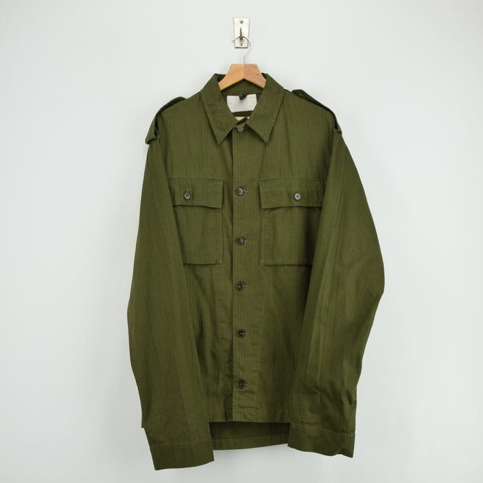 Vintage Dutch Army Surplus Cotton Herringbone Military Shirt Army Green XXL Tall front