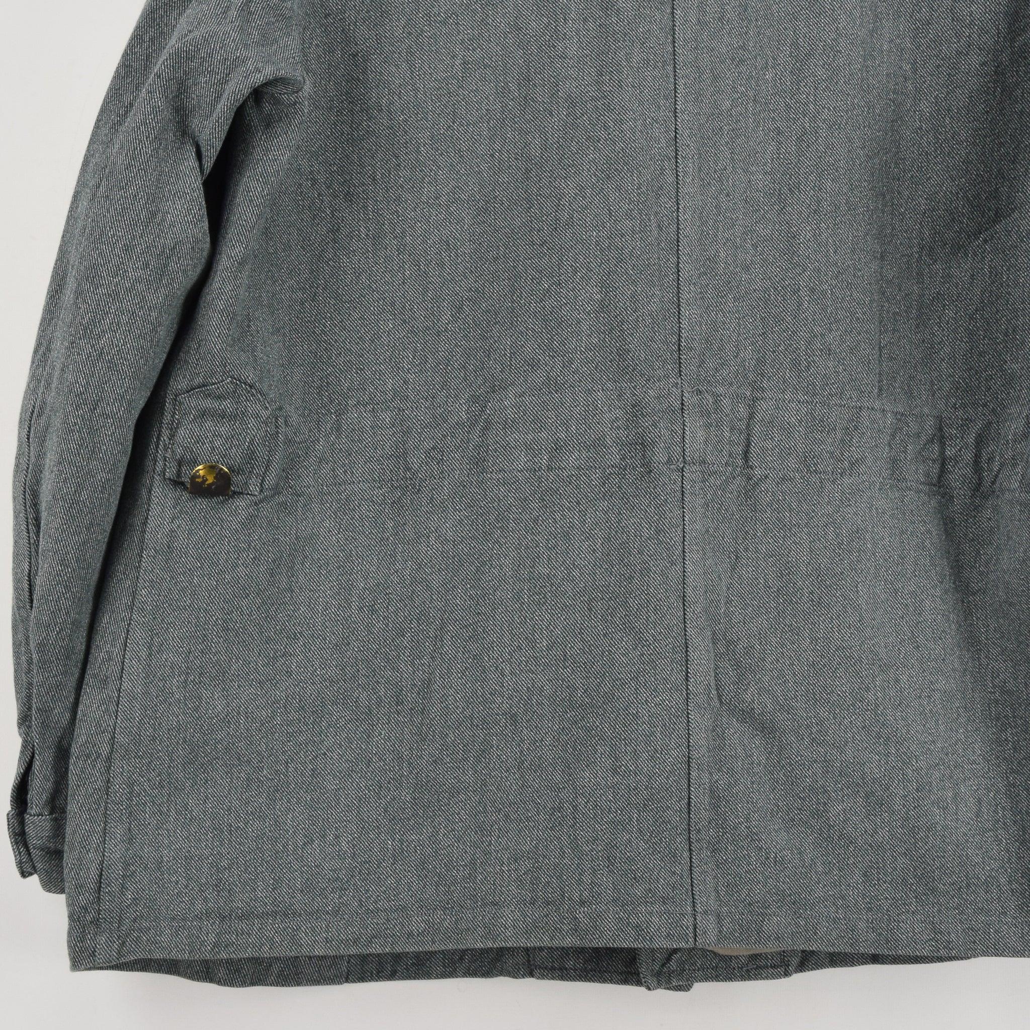 Vintage 40s WWII Era Swiss Army Salt & Pepper Worker Chore Jacket L back hem