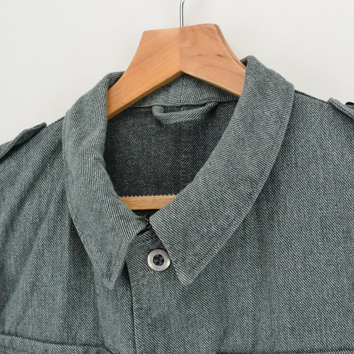Vintage 40s WWII Era Swiss Army Salt & Pepper Worker Chore Jacket L collar