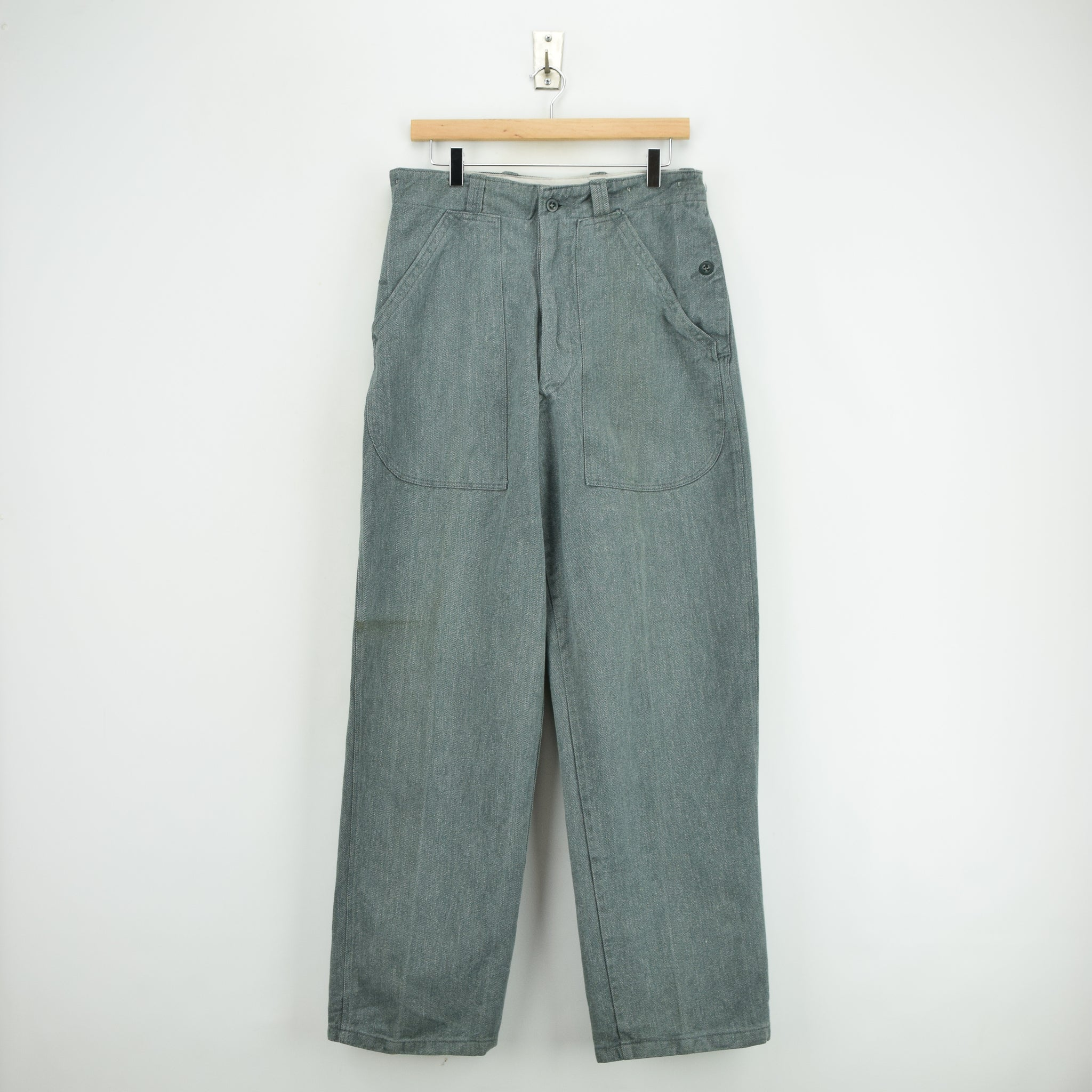 2a3e2a4e Vintage 40s WWII Style Swiss Army Salt & Pepper Worker Chore Trousers 30 W  front ...