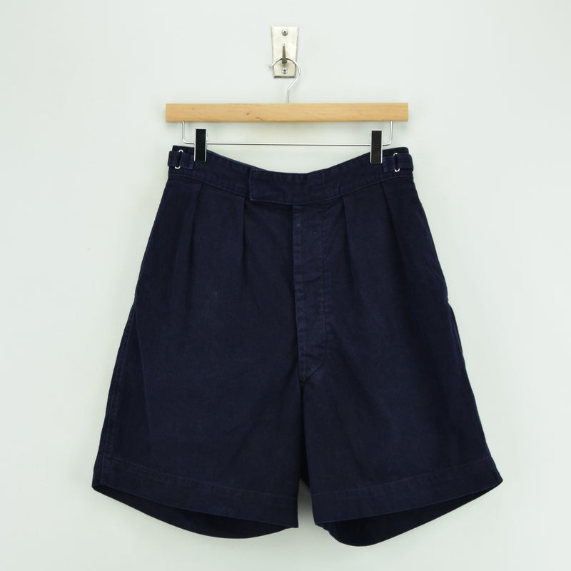 Vintage 60s Royal Navy Cotton Navy Blue Drill Tropical Military Shorts 26 - 28 W front