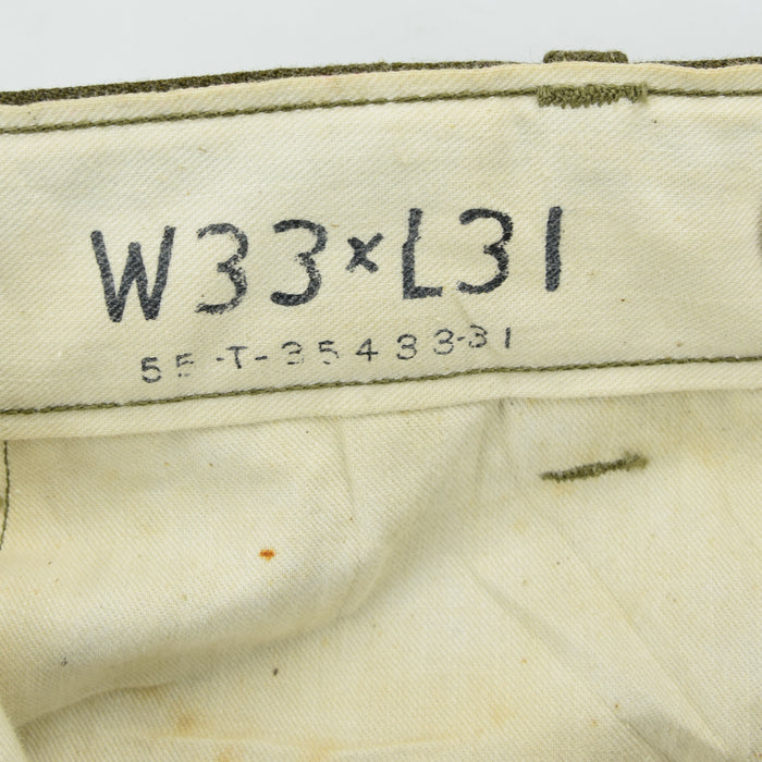 Vintage 50s Korean War US Army Wool Field Trousers 30 W 31 L internal print