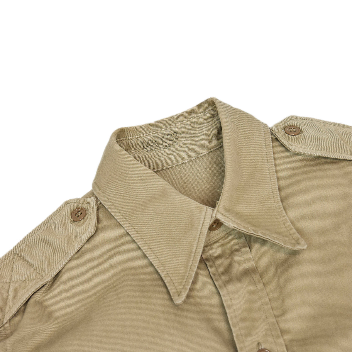 Vintage 50s Korean War US Army Khaki Cotton Stand Up Collar Field Shirt S collar