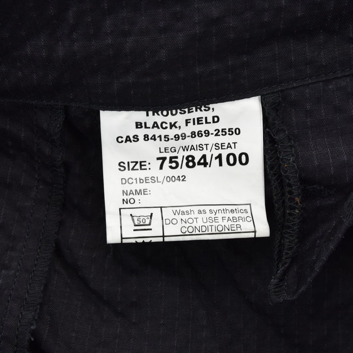 Vintage Military British Issued Ripstop Cargo Black Field Trousers 28 W 29 L label