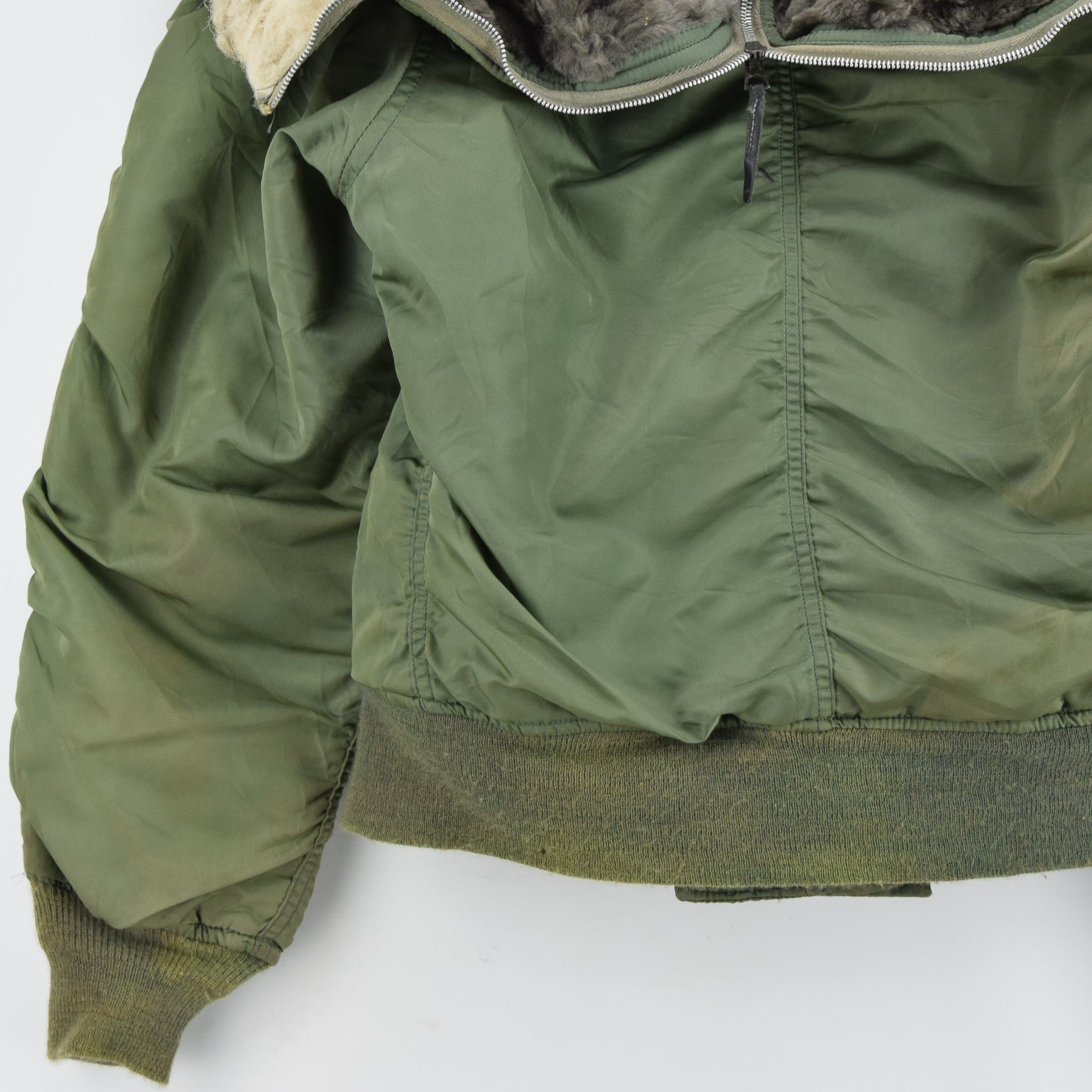 Vintage 70s USAF Alpha Industries N-2B Parka Hooded Bomber Flight Jacket S back hem