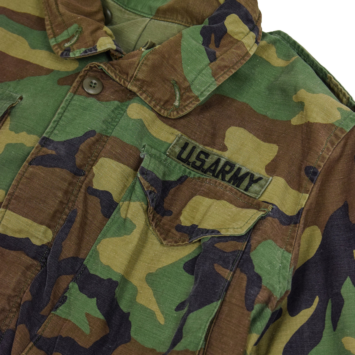 Vintage 80s US Army M-65 Woodland Camouflage Field Coat Military Jacket S Long collar