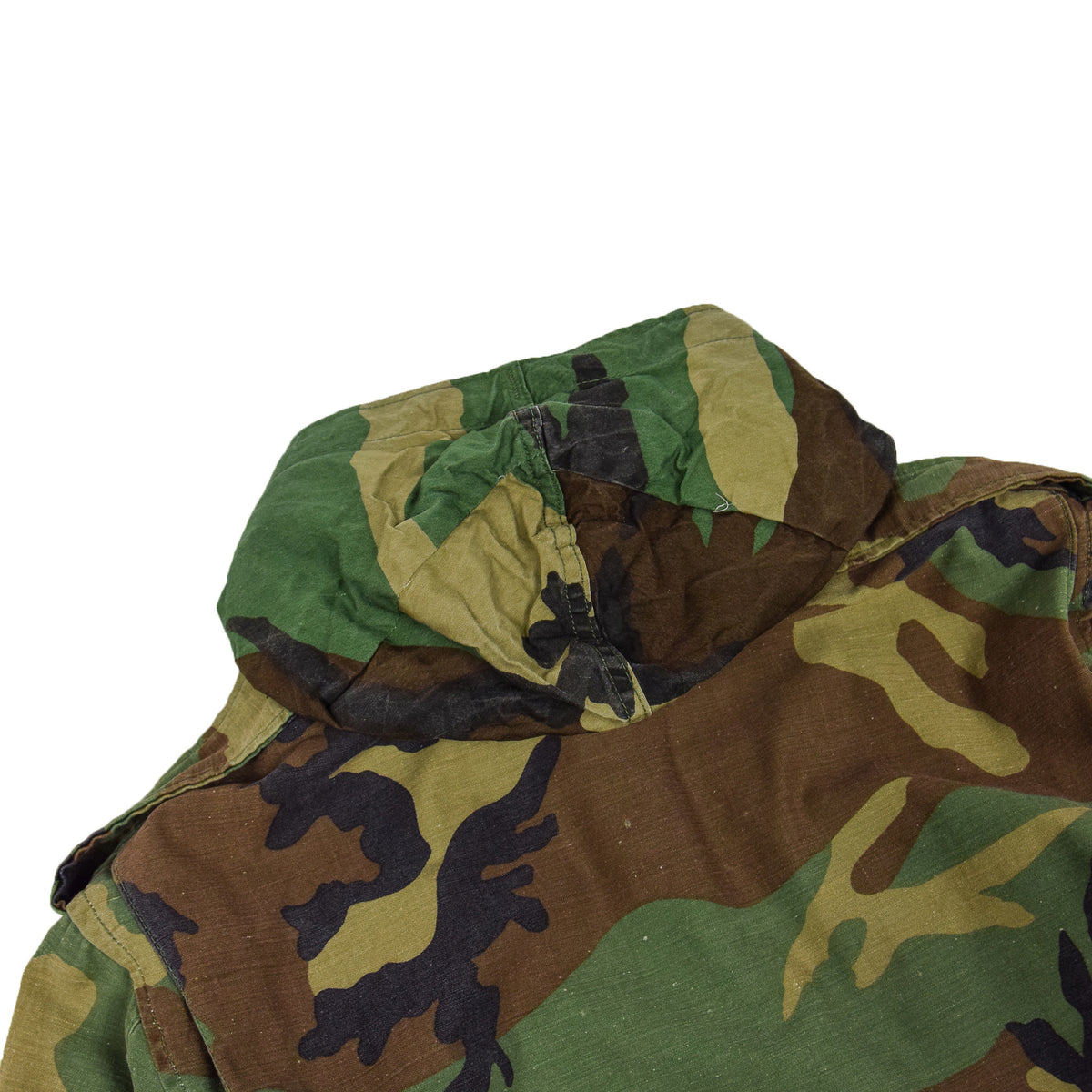Vintage 80s US Army M-65 Woodland Camouflage Field Coat Military Jacket S Long