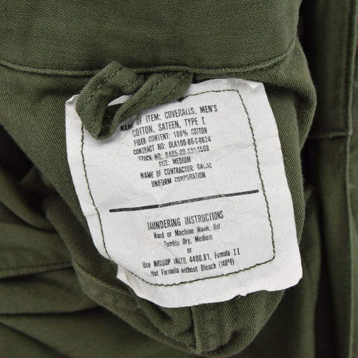Vintage 80s USAF Overalls Flying US Air Force Utility Coverall Green Flight Suit M label