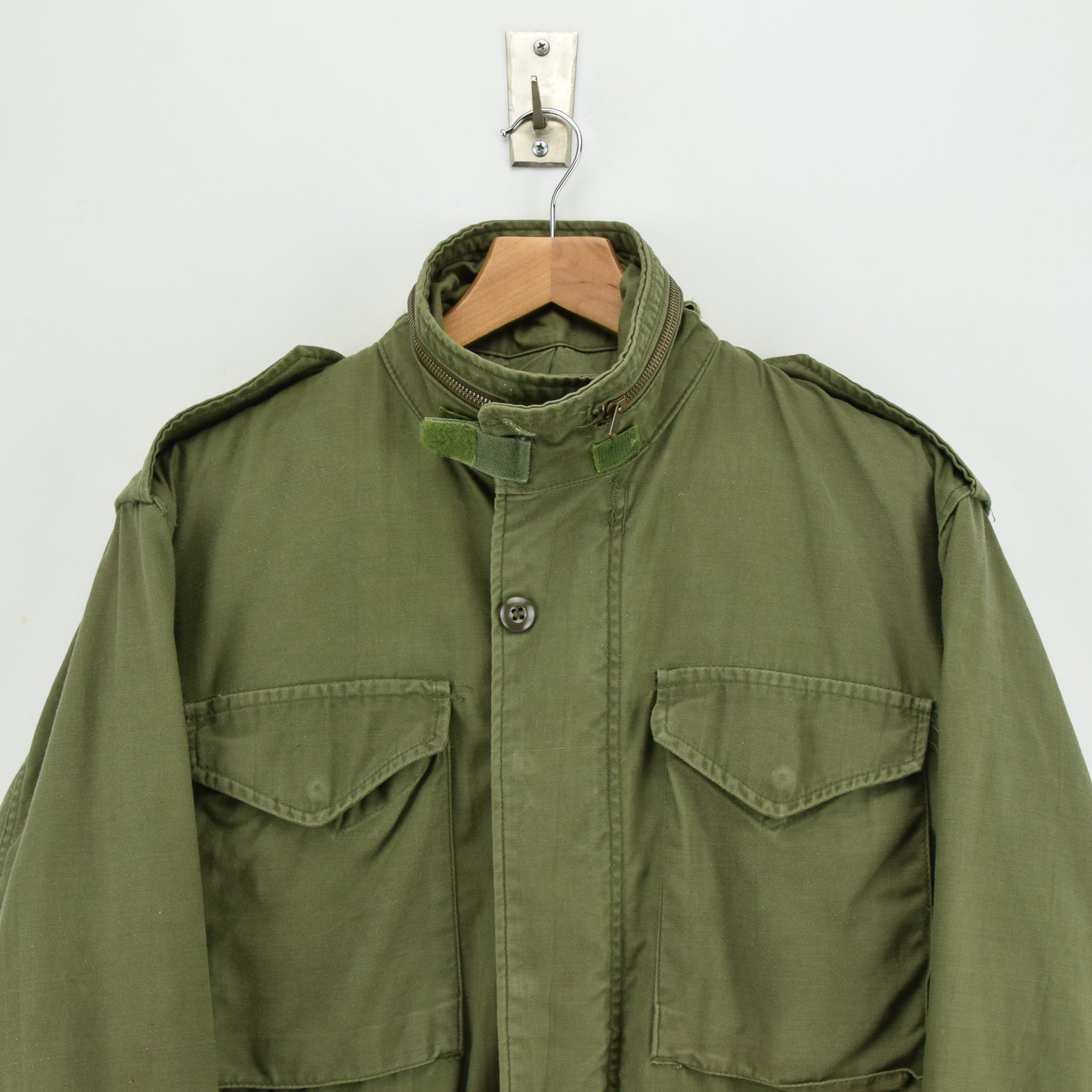 Vintage 80s Alpha Industries M-65 Green Coat Cold Weather Man's Field Jacket S chest