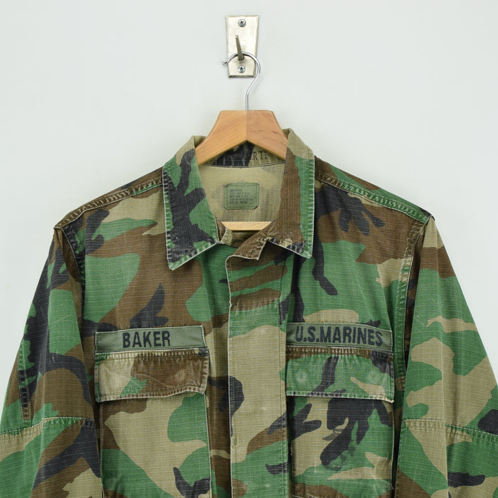 Vintage 80s USMC Hot Weather Woodland Camouflage Combat Coat Field Jacket S chest