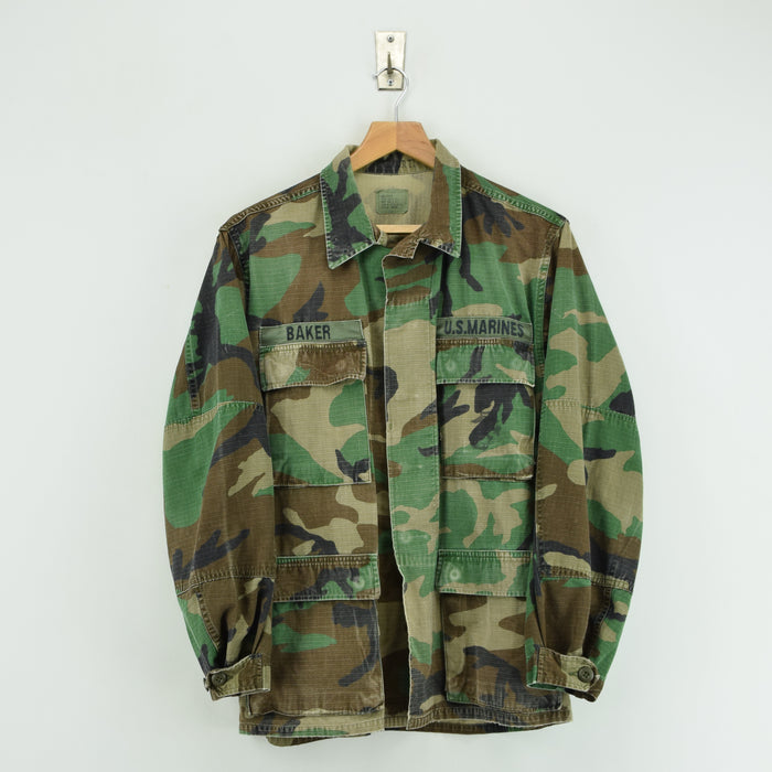 Vintage 80s USMC Hot Weather Woodland Camouflage Combat Coat Field Jacket S FRONT