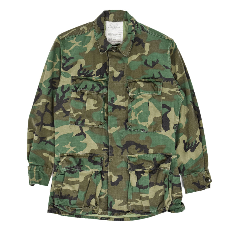Vintage 80s US Army ERDL 2nd Generation Camo Hot Weather Combat Coat XS Short front