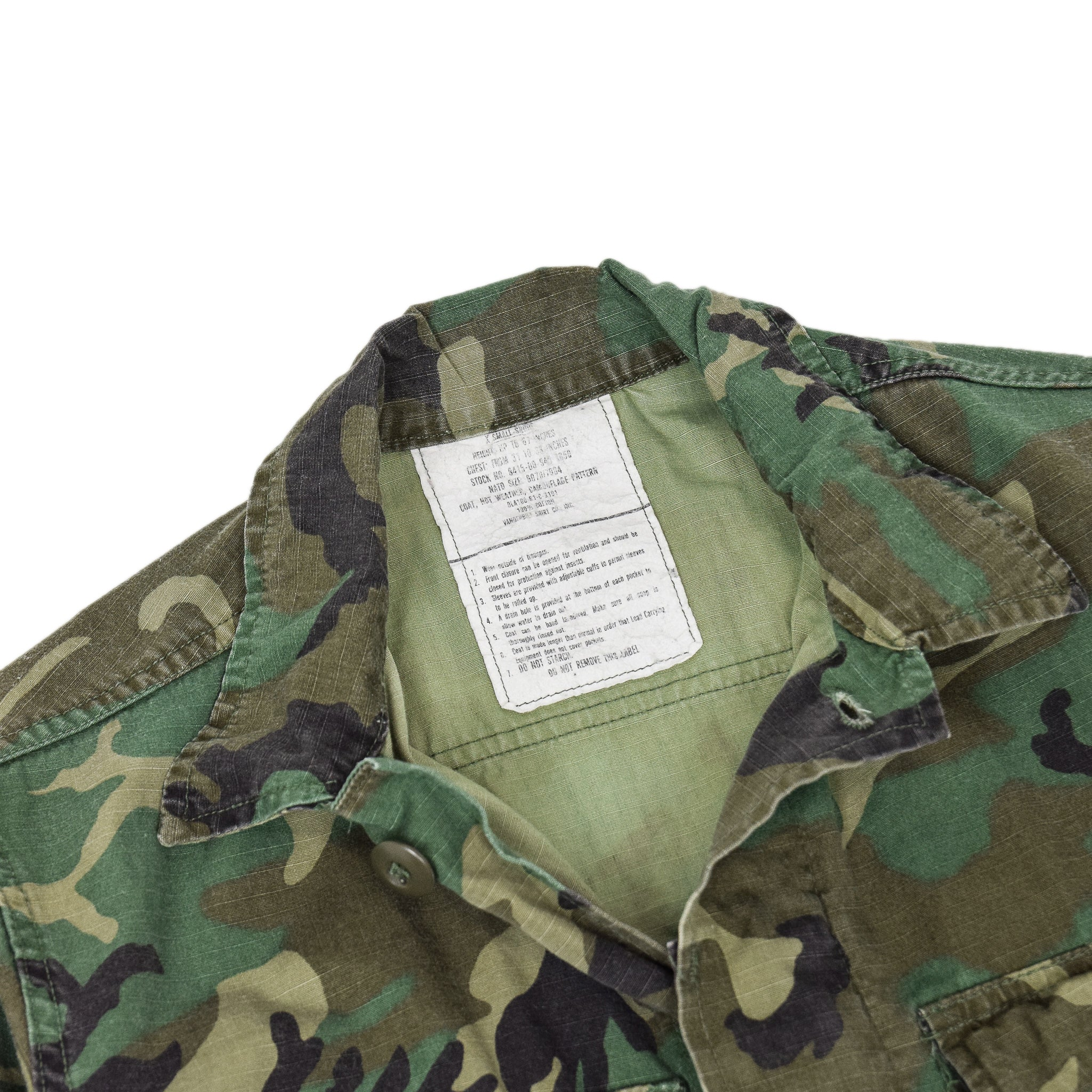 Vintage 80s US Army Hot Weather Woodland Camouflage Field Combat Coat XS Short chest