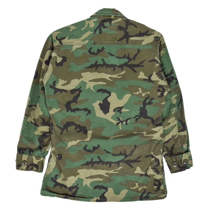 Vintage 80s US Army Hot Weather Woodland Camouflage Field Combat Coat XS Short collar