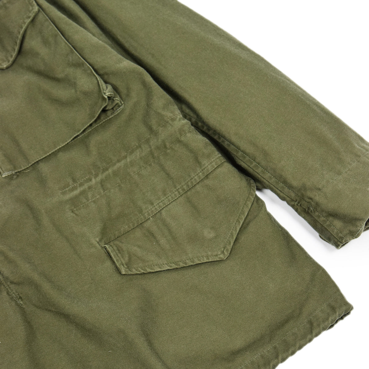 Vintage 60s Vietnam M-65 Man's Field Sateen 0G-107 Green US Army Coat M Short lower pocket