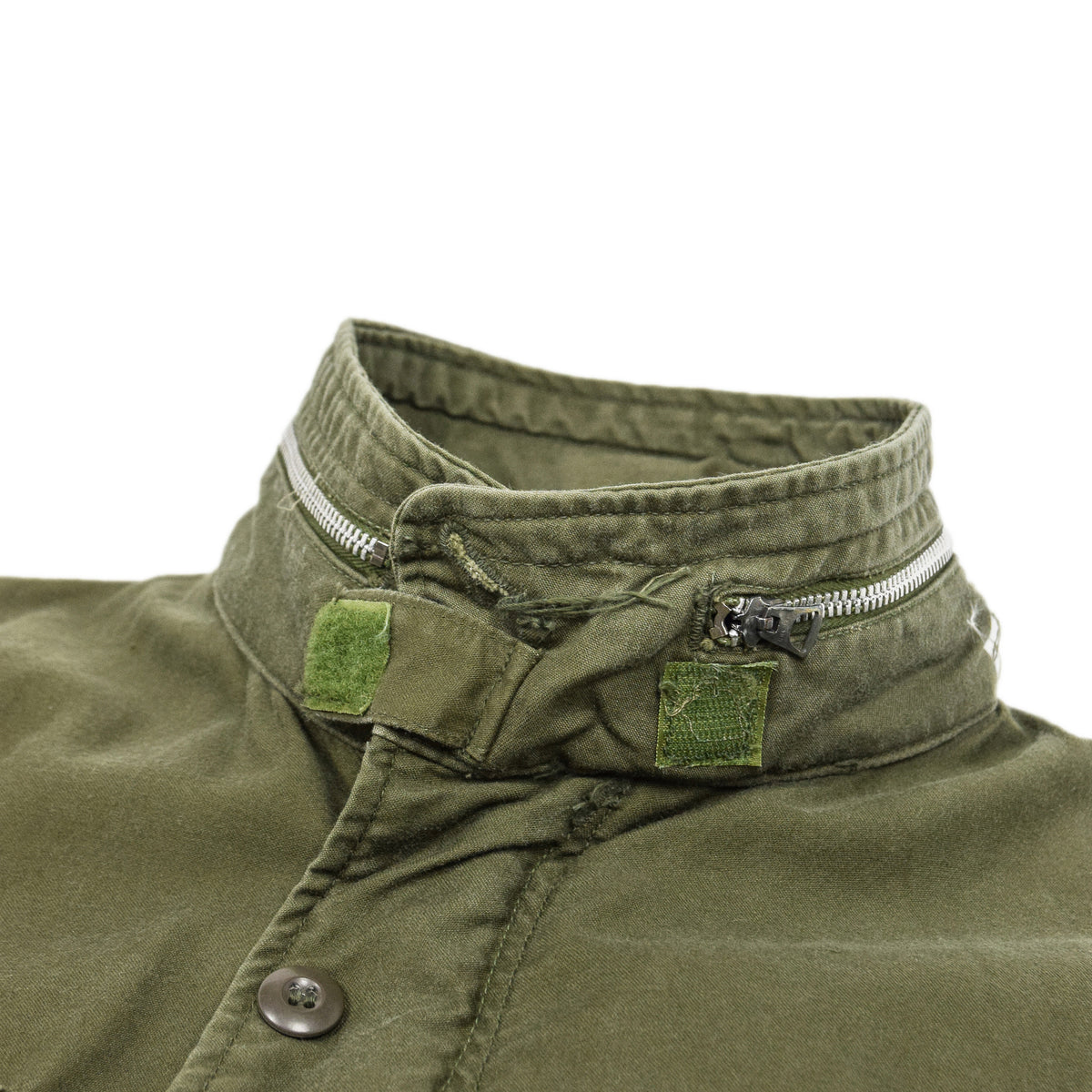 Vintage 60s Vietnam M-65 Man's Field Sateen 0G-107 Green US Army Coat M Short collar detail