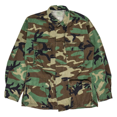 Vintage 80s US Army Hot Weather Woodland Camo Ripstop Combat Coat S Reg front