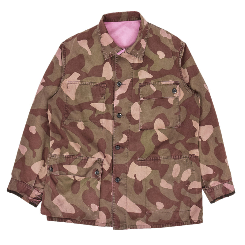 Vintage 90s Military Finnish Army Pink Overdyed Camo Mountain Field Jacket L FRONT