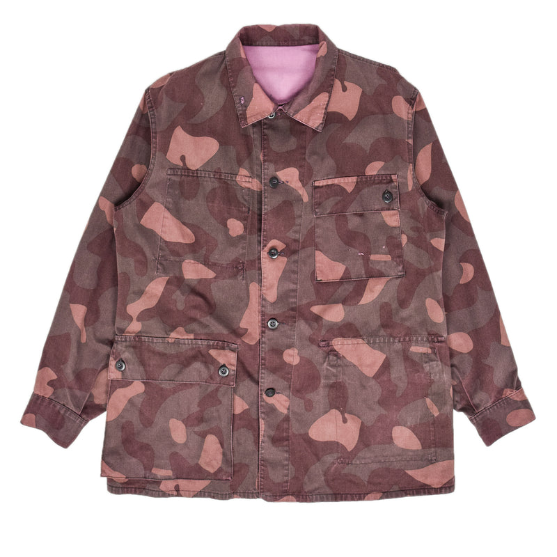 Vintage 80s Military Finnish Army Pink Overdyed Camo Mountain Field Jacket L FRONT