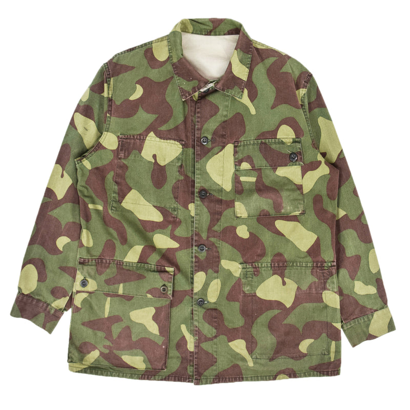 Vintage 80s Military Finnish Army Green Camo Mountain Field Jacket L / XL FRONT