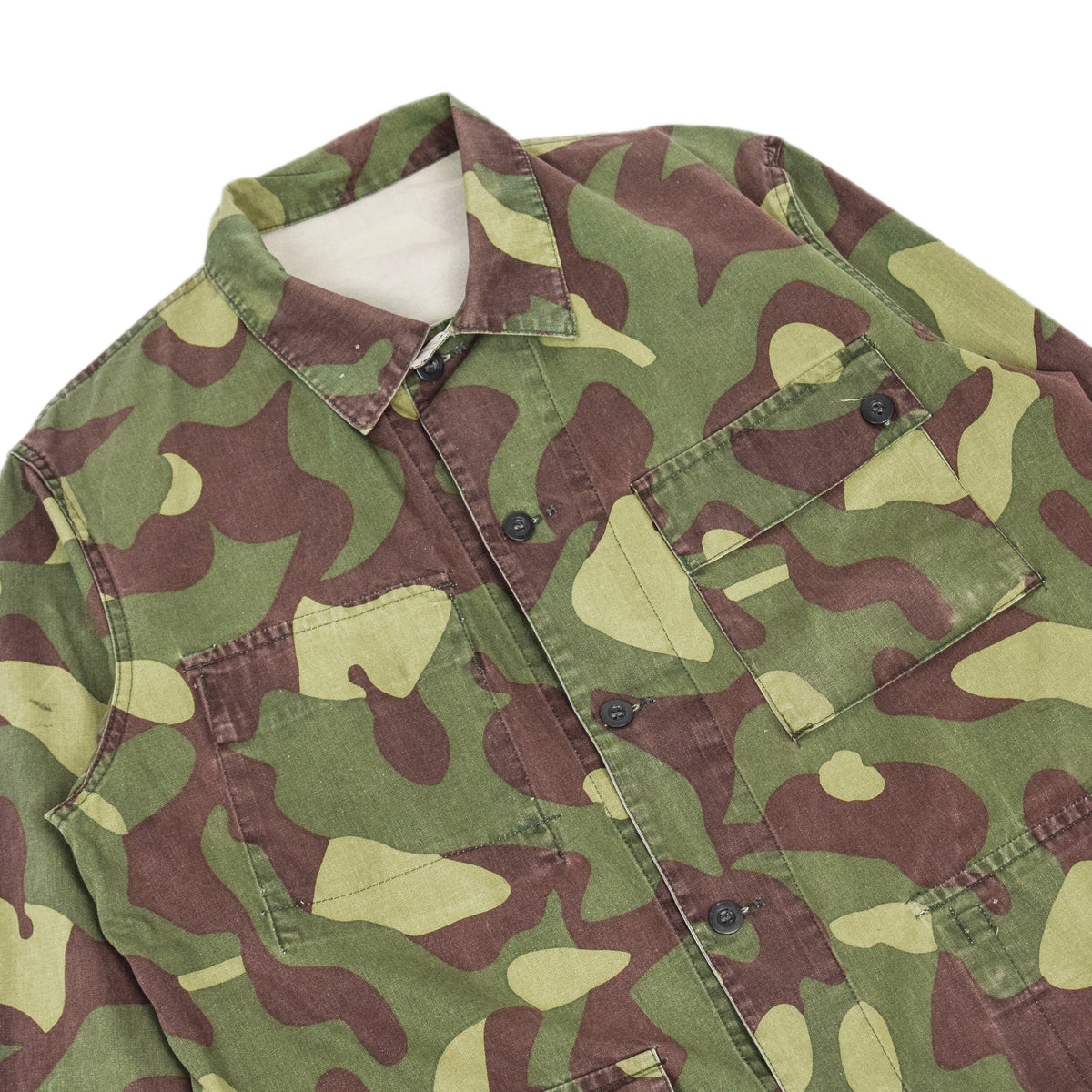 Vintage 80s Military Finnish Army Green Camo Mountain Field Jacket L / XL CHEST