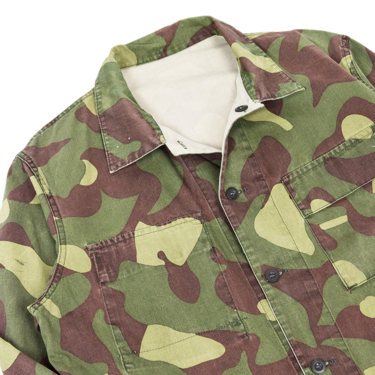 Vintage 80s Military Finnish Army Green Camo Mountain Field Jacket L / XL COLLAR