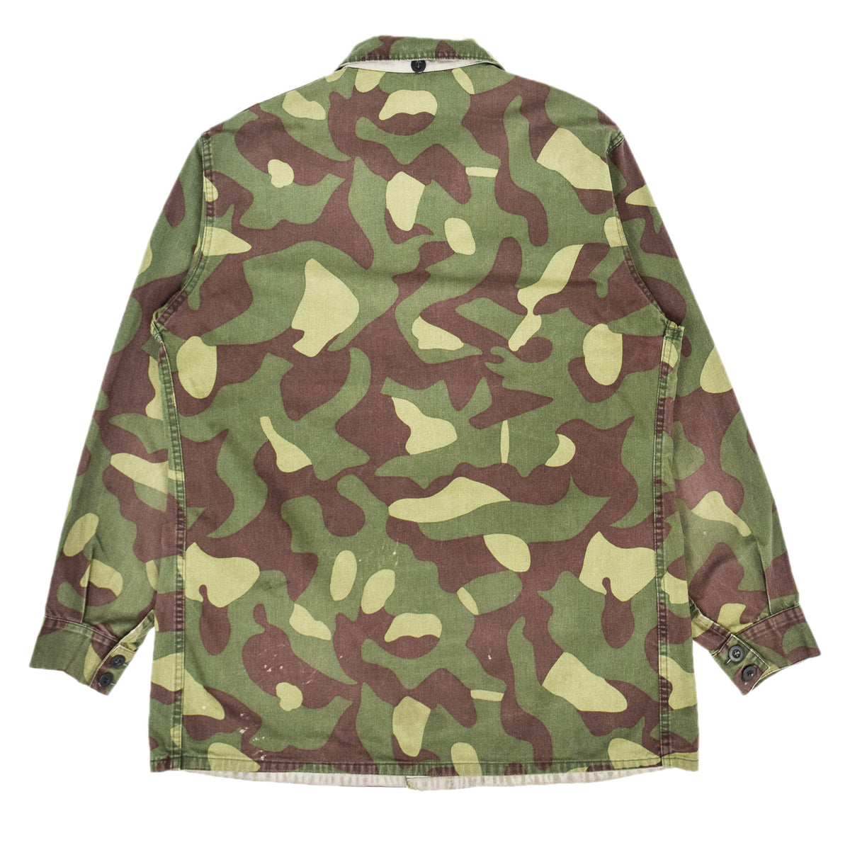 Vintage 80s Military Finnish Army Green Camo Mountain Field Jacket L / XL BACK