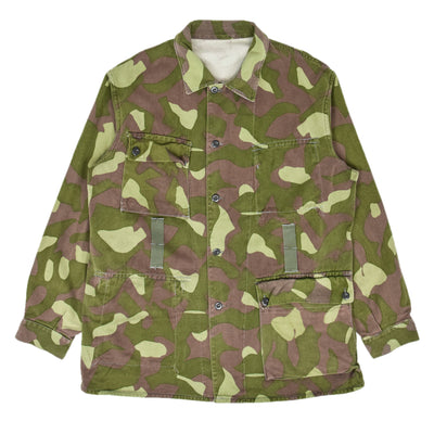 Vintage 70s Military Finnish Army Green Camo Mountain Field Jacket XL front