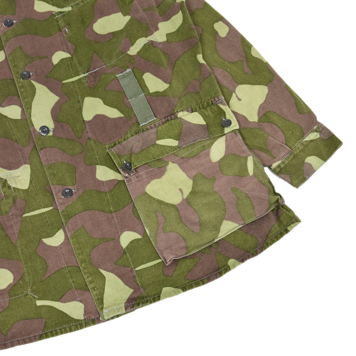 Vintage 70s Military Finnish Army Green Camo Mountain Field Jacket XL lower pocket