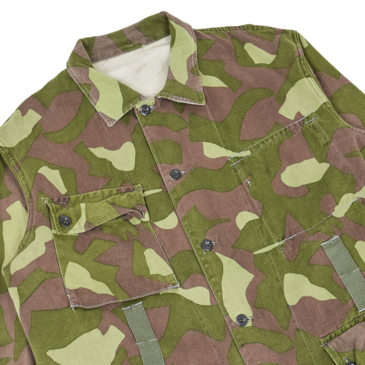 Vintage 70s Military Finnish Army Green Camo Mountain Field Jacket XL chest