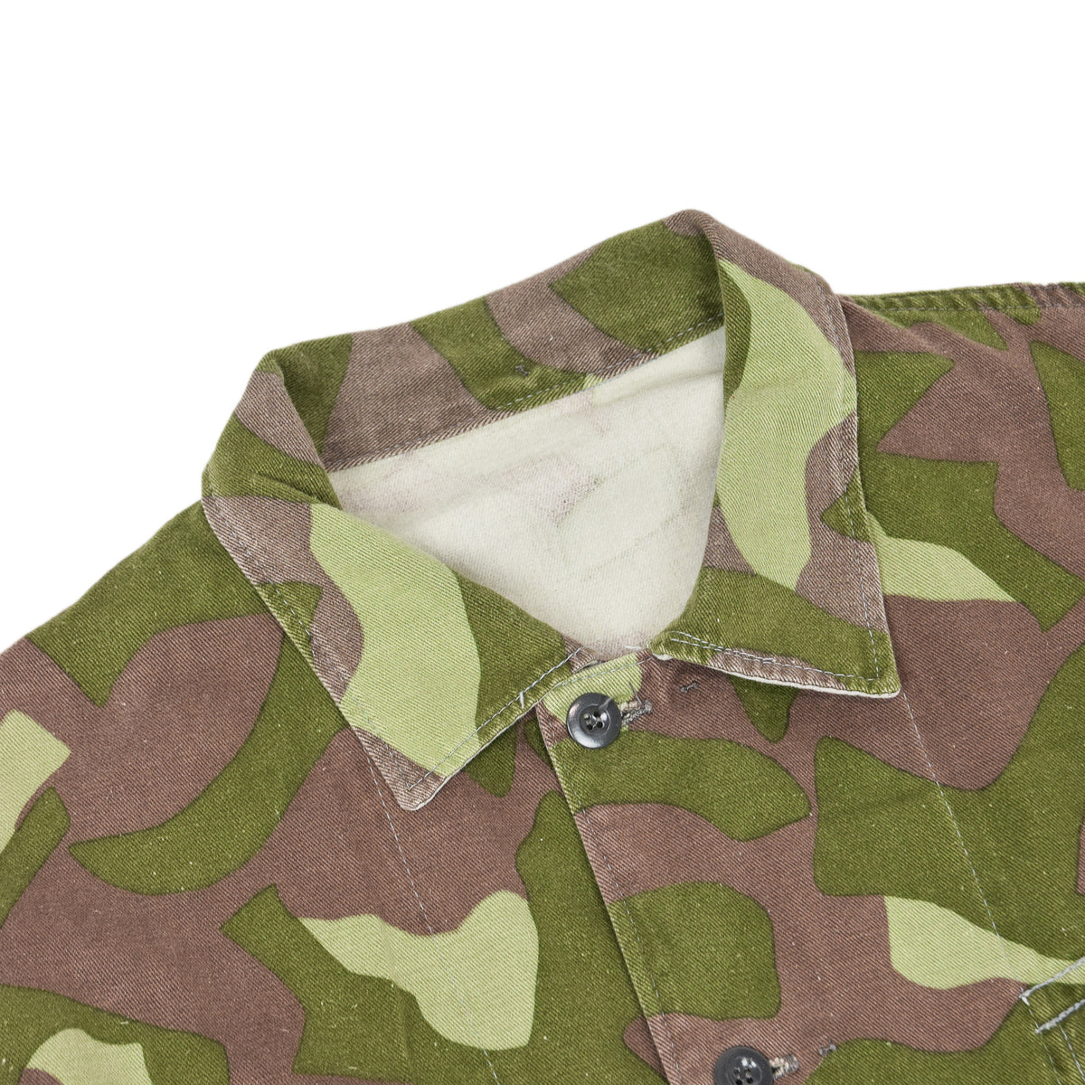 Vintage 70s Military Finnish Army Green Camo Mountain Field Jacket XL collar